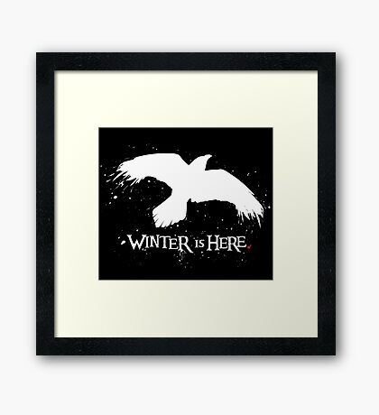 Winter is Here - Large Raven on Black Framed Print
