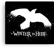 Winter is Here - Large Raven on Black Canvas Print