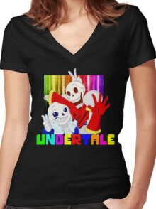 Brothers - Undertale Women's Fitted V-Neck T-Shirt