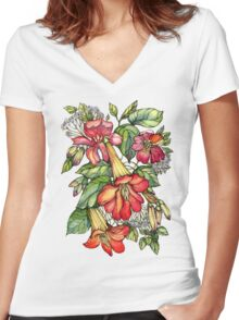 Red Trumpet Vine flowers. Women's Fitted V-Neck T-Shirt
