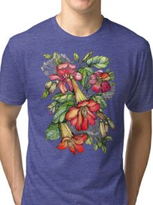 Red Trumpet Vine flowers. Tri-blend T-Shirt