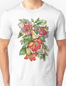 Red Trumpet Vine flowers. Unisex T-Shirt