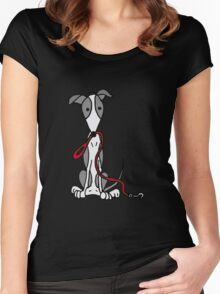 Cool Funny Greyhound Dog with Red Leash Women's Fitted Scoop T-Shirt