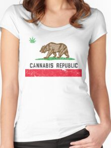 Vintage Cannabis Republic Women's Fitted Scoop T-Shirt