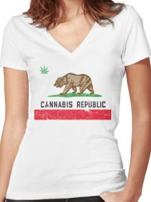 Vintage Cannabis Republic Women's Fitted V-Neck T-Shirt