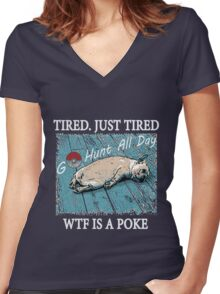 Dog After So Much Catch' Em All Poke T Shirt Women's Fitted V-Neck T-Shirt