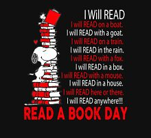 I Will Read - I will Read Anywhere - NATIONAL READ A BOOK DAY Womens Fitted T-Shirt