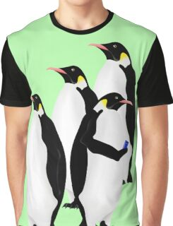 Penguin Using A Cell Phone Graphic T-Shirt