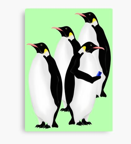 Penguin Using A Cell Phone Canvas Print