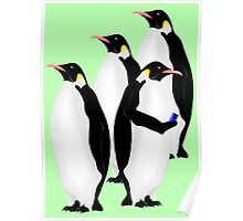Penguin Using A Cell Phone Poster