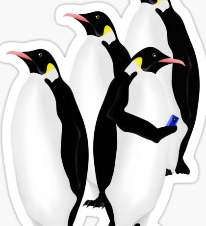 Penguin Using A Cell Phone Sticker