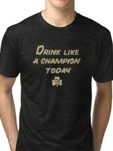 Drink Like a Champion - South Bend Style Dark Blue Tri-blend T-Shirt