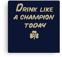 Drink Like a Champion - South Bend Style Dark Blue Canvas Print