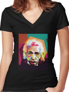 Einstein Art  Women's Fitted V-Neck T-Shirt