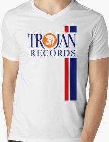 TROJAN RECORDS TWO STRIPE Mens V-Neck T-Shirt