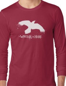 Winter is Here - Large Raven on Black Long Sleeve T-Shirt