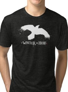 Winter is Here - Large Raven on Black Tri-blend T-Shirt