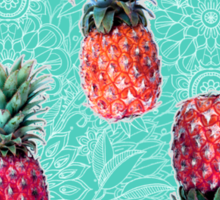 From Pineapple to Pink - tropical doodle pattern on mint Sticker
