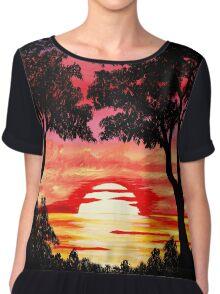 Pink Sunset Painting Chiffon Top