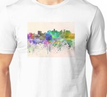 Denver skyline in watercolor background Unisex T-Shirt