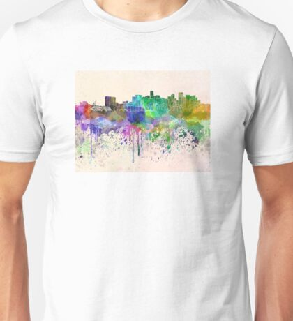 Denver skyline in watercolor background Unisex T-Shirt