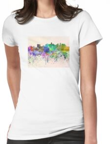 Denver skyline in watercolor background Womens Fitted T-Shirt