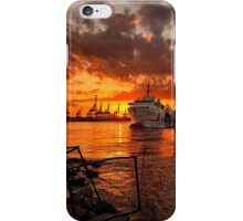 Sunset at the port iPhone Case/Skin