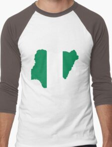 Nigeria Flag Map Men's Baseball ¾ T-Shirt