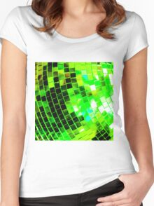 Funky Green Disco Ball Women's Fitted Scoop T-Shirt