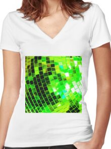 Funky Green Disco Ball Women's Fitted V-Neck T-Shirt