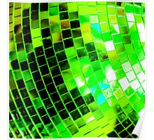 Funky Green Disco Ball Poster