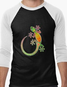 Gecko Floral Tribal Art Men's Baseball ¾ T-Shirt