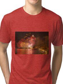 Fireworks at the Fiesta del Carmen 3 Tri-blend T-Shirt
