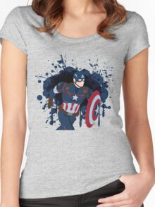Patriotic Paint Splatters Women's Fitted Scoop T-Shirt