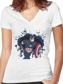 Patriotic Paint Splatters Women's Fitted V-Neck T-Shirt