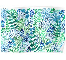 Blue Flower Ferns Painted Mosiac Watercolors Poster