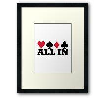Poker all in Framed Print