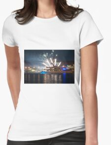 Ship at sea with fireworks Womens Fitted T-Shirt