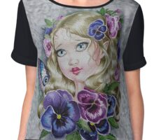 Big eyes baby pansy fairy faerie fantasy flower woman chiffon top Chiffon Top