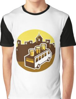 Beer Flight Glass On Van Buildings Circle Retro Graphic T-Shirt