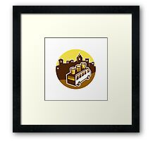 Beer Flight Glass On Van Buildings Circle Retro Framed Print