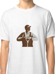 Organic Farmer Leaning Shovel Looking Up Retro Classic T-Shirt