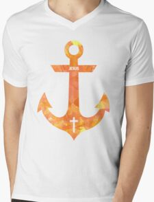 Christian Anchor Mens V-Neck T-Shirt