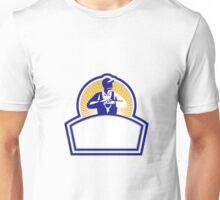 Organic Farmer Leaning Shovel Shield Retro Unisex T-Shirt