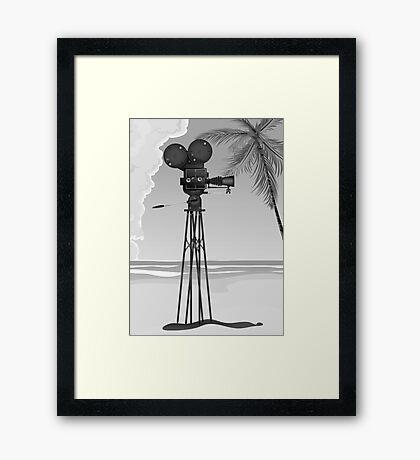Old Movie time vintage film camera Framed Print
