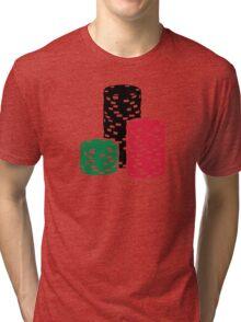 Poker Roulette chips gambling Tri-blend T-Shirt