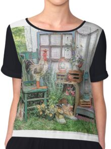 Rooster In The Garden Chiffon Top