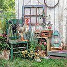 Rooster In The Garden by wiscbackroadz
