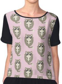Cute Cat Meow in Pink Chiffon Top