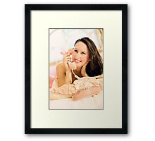 Woman talking on the phone Framed Print